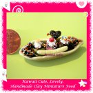 ICE CREAM BOAT DESSERT SET - HANDMADE MINI CLAY FOOD FOR DOLLS HOUSE OR MINIATURISTS ECDMF-IC3002