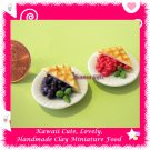 BERRY CHERRY BLUEBERRY PIE SET - CLAY MINIATURE FOOD FOR DOLLS HOUSE OR MINIATURISTS ECDMF-MP2001