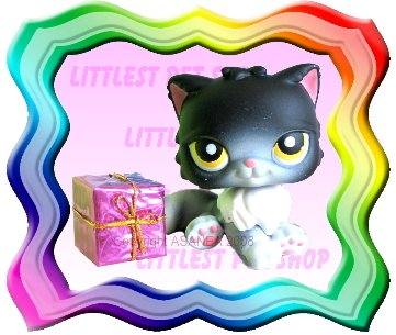 LITTLEST PET SHOP LOOSE FIGURE - HALLOWEEN BLACK CAT # 434 FREE MINI TOY GIFT ! BRAND NEW