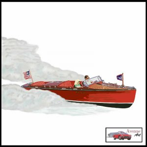 CLASSIC CHRIS CRAFT RUNABOUT CANVAS ART PRINT