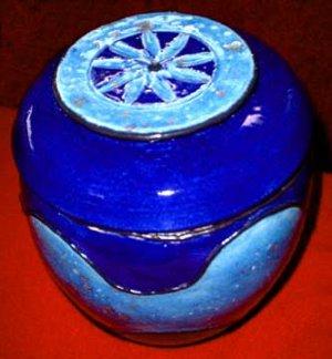Blue Egg Shaped Pot