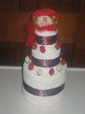 Red Hat Mama Towel Cake