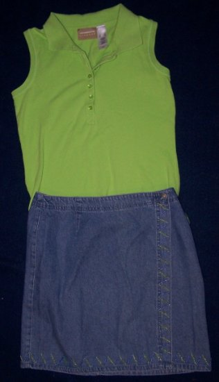 STO Wrap Jean Embellished SKIRT 8 + CLAIBORNE Top Outfit