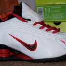 NIKE Shox R4 All White/Red US 1 UK 13  EUR 32