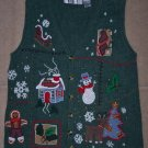 Womens Holiday Vest Reindeer Sleigh Snowman M
