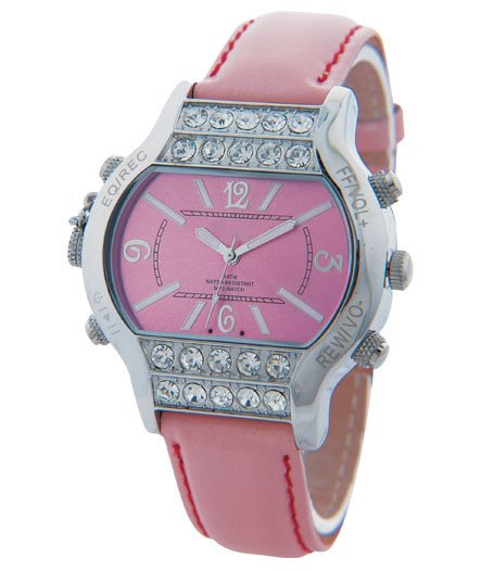 2GB Ladies Wireless Bluetooth MP3 Recorder Watch B03 Pink