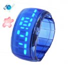 Hot Sell Blue LED Bracelet Watch Transparent Plastic