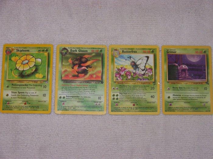 good deal on collectable pokemon trading cards set grimer, butterfree, darkgloom, skiploom