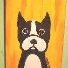 Cute and Playful Boston Bull Terrier folk art by outsider artist dan c