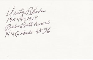 Dusty Rhodes Autographed 3x5 card! New York Giants