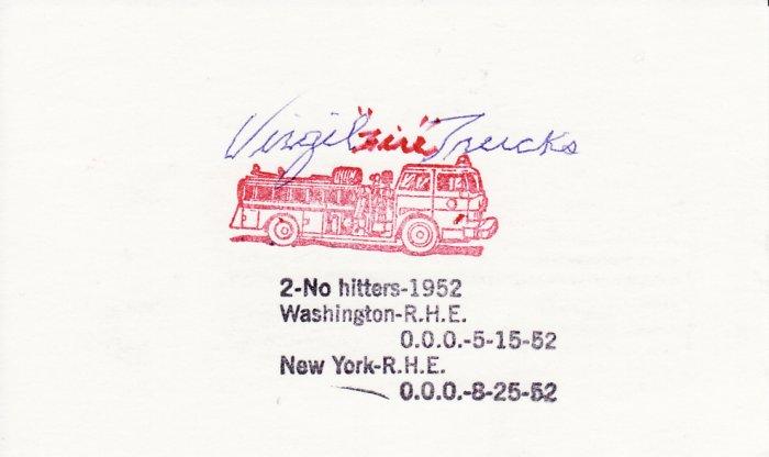 Virgil Trucks Autograph Signed index card! Detroit Tigers