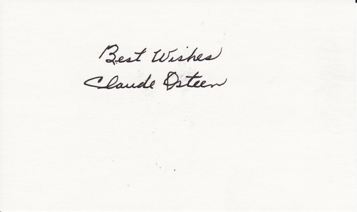 Claude Osteen Autograph Signed index card! Dodgers, Astros