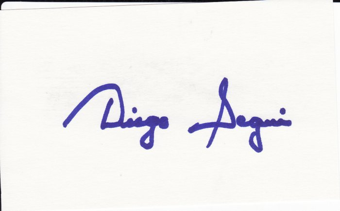 Diego Segui Autograph Signed Index card! Seattle Pilots Mariners