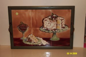 Hand-Painted Ceramic Tile Tray