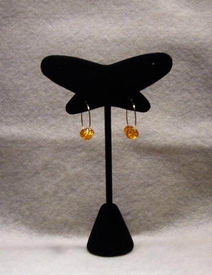 LC989E - Orange Glass beaded hoop earrings