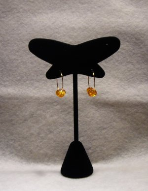 LC989E - Orange Glass beaded hoop earrings