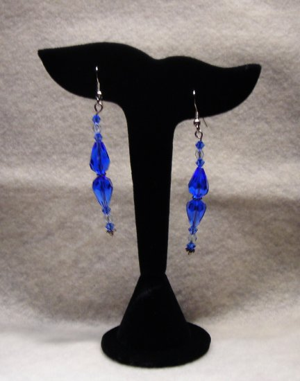 LC985E - Capri Blue and Clear Swarovski Earrings