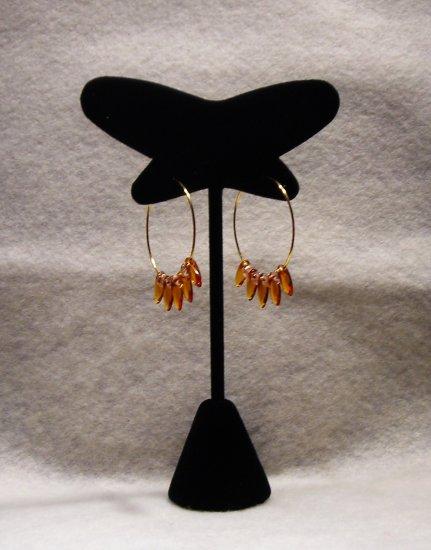 """LC982E - 1 1/8"""" Gold hoop beaded earrings"""