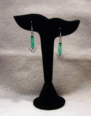 LC986E - Seagreen glass oblong beaded earrings