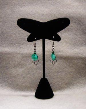 LC981E - Sea Green Oval Beaded Earrings