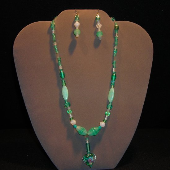 LC949S - Sea Green Necklace and Earring Set