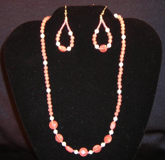 LC942S - Cherry Quartz Necklace and Earrings