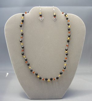 LC951S - Faceted Black Beaded Necklace and Earring Set