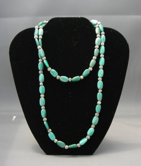 LC946N - Blue Green Twisted Bead Necklace