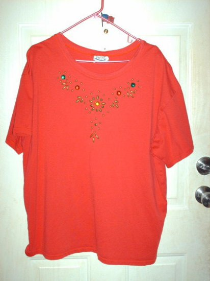 Gently Used Red Women's T-Shirt with Jewel Accents Size 2X