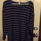 Gently Worn Women's 2x Striped Knit Long Sleeve Top