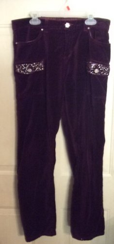 Gently Worn Mary Kate & Ashley Velvet Deep Wine Pants with Gems Size 16