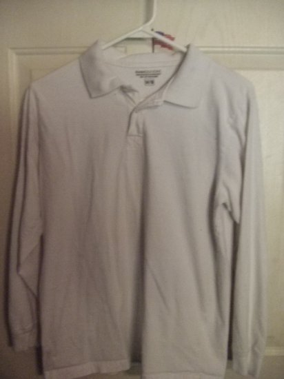Gently Worn Basic Editions White Long Sleeve Collard Shirt Children's Size 14/16