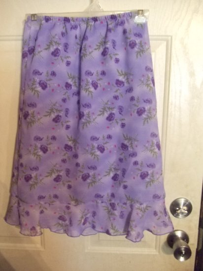 Gently Worn Mary Kate & Ashley Purple Flowered Skirt Girl's Size Large