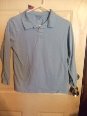 Gently Worn Basic Editions Long Sleeve Light Blue Collared Shirt Children's Size Medium