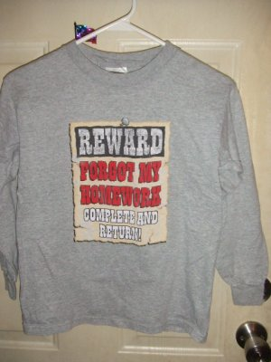 Gently Worn Youth Long Sleeve Novelty Tee Shirt Size Medium