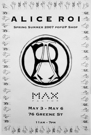 Alice Roi * POPUP SHOP NYC * Original Fashion Poster 2' x 3' NEW 2007