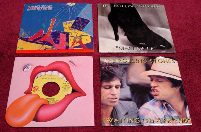 ROLLING STONES Original 45rpm Collection ( 4 ) with Rare Picture Sleeves TATTOO YOU 1981 Mint