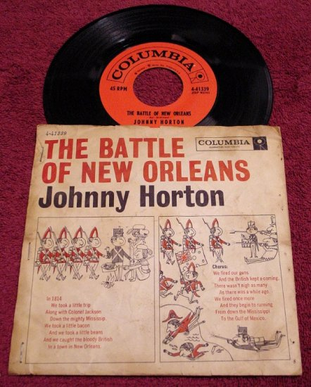 Johnny Horton * BATTLE of NEW ORLEANS * Original 45rpm with Picture Sleeve 1957 Ex+