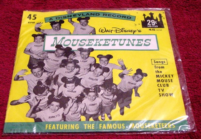 Walt Disney MOUSEKETEERS Original 45rpm Annette Funicello 1962 * SEALED * Mint