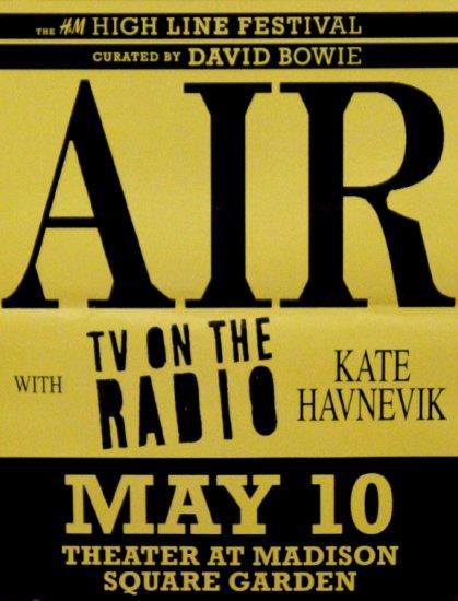 """H & M's HIGH LINE FESTIVAL Original Poster David Bowie AIR NYC 17"""" x 22"""" Rare 2007"""