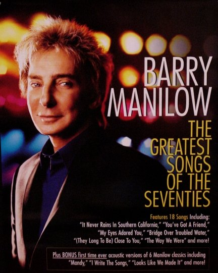 Barry Manilow * GREATEST SONGS OF SEVENTIES * Original Poster 2 'x 3' Rare