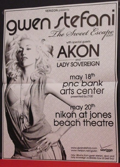 Gwen Stefani * SWEET ESCAPE TOUR * Original Concert Poster 2' x 3' Rare 2007 Mint