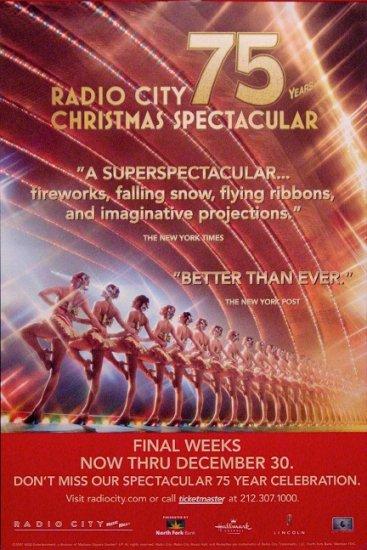 Radio City 75th CHRISTMAS SPECTACULAR Original Poster 2' x 3' MINT 2007