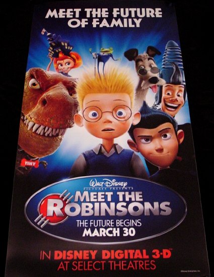 MEET THE ROBINSONS Original Disney Poster * TOM SELLECK * 2' x 4' Rare 2007 Mint