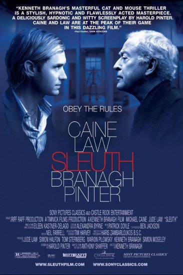 "Branagh's SLEUTH Original Movie Poster * Micheal Caine * 27"" x 40"" Rare 2007 Mint"