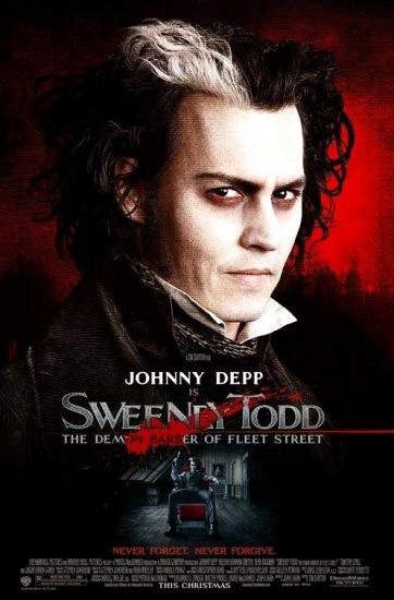 Tim Burton's SWEENEY TODD Original Movie Poster * JOHNNY DEPP * Huge 4' x 6' Rare 2007 Mint