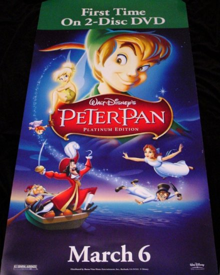Walt Disney's PETER PAN Original Movie Poster 2' x 4' Rare 2007 Mint