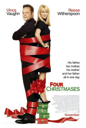FOUR CHRISTMASES Movie Poster * VINCE VAUGHN & REESE WITHERSPOON * 4' x 6' Rare 2008 NEW
