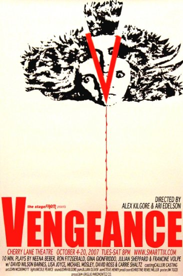 VENGEANCE Original Off-Broadway Theater Poster NYC 2' x 3' Rare 2007