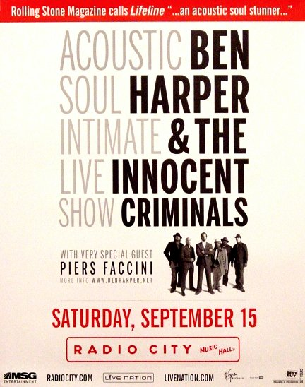 Ben Harper & THE INNOCENT CRIMINALS Original Concert Poster 2' x 3' Radio City NYC Rare 2007 Mint